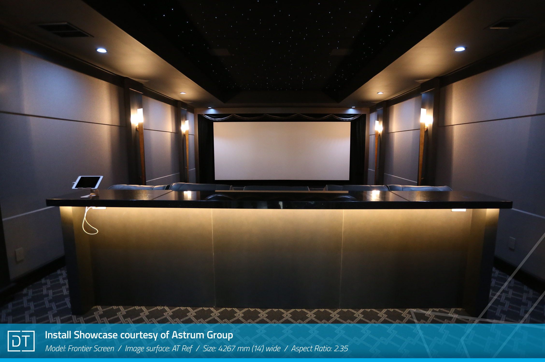 Install Showcase courtesy of Astrum Group - Model: Frontier Screen, Image surface: AT Ref, Width: 4267mm (14ft) wide, Aspect: 2.35