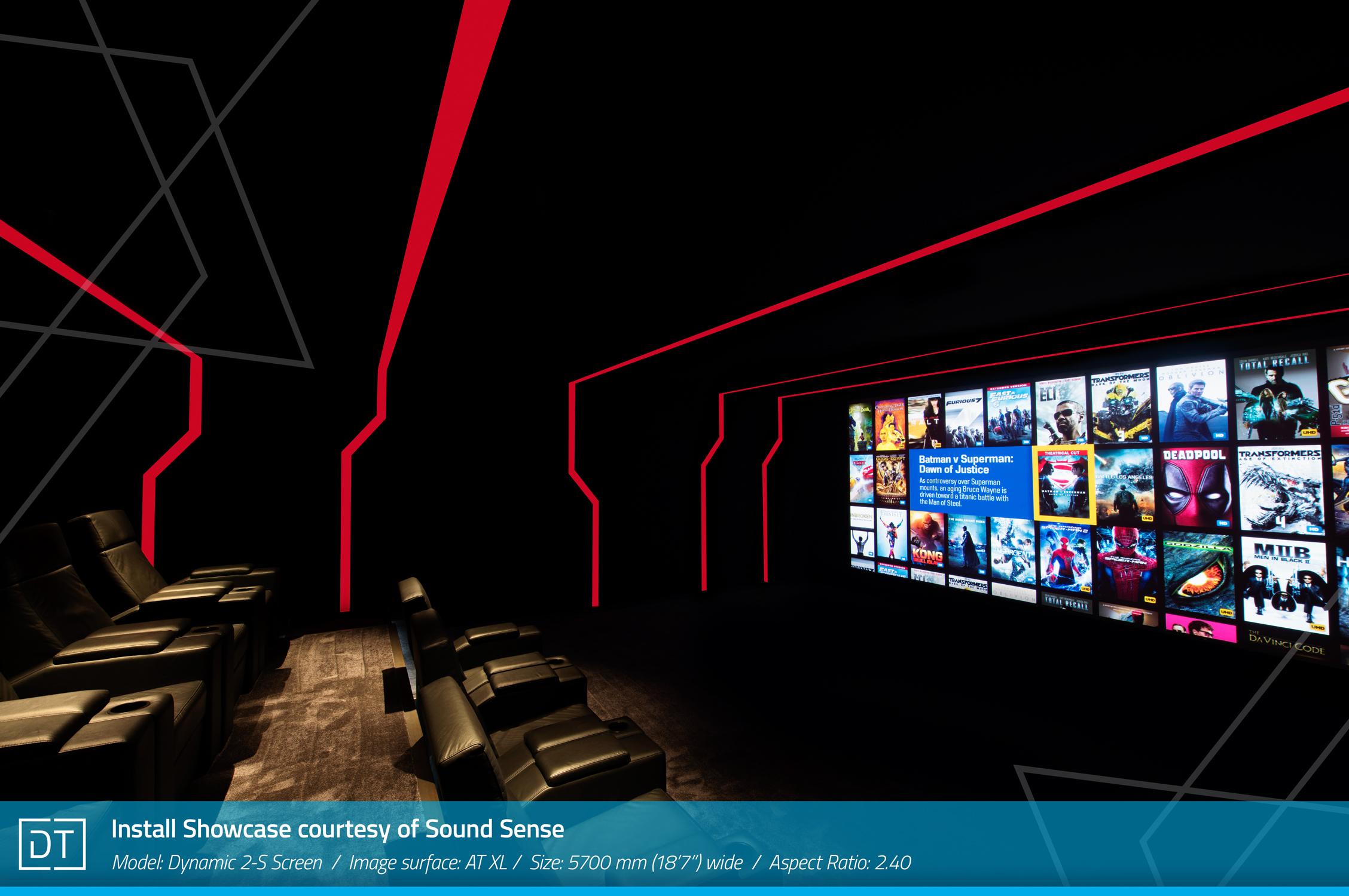Install Showcase courtesy of Sound Sense - Model: Dynamic-2S Screen, Image surface: AT XL, Width: 5700mm (18.7ft) wide, Aspect: 2.40